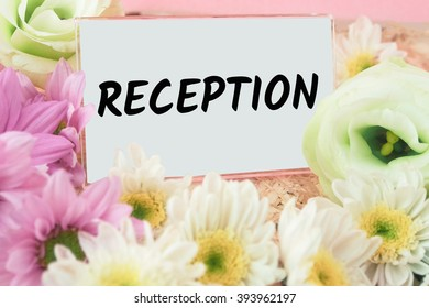 word reception on card flower and pink background