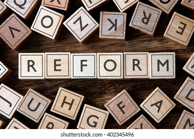 the word of REFORM on building blocks concept