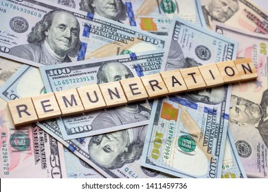 The word remuneration on dollar usa background. Reward, payment and gratification concept