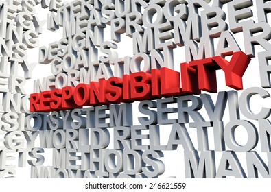 Word Responsibility in red, salient among other related keywords concept in white. 3d render illustration.