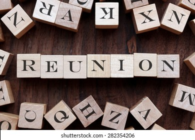 the word of REUNION on cubes