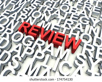 Word Review in red, salient among other related keywords concept in white. 3d render illustration.