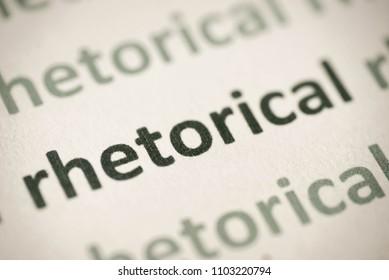 word rhetorical printed on white paper macro