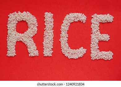 word RICE made with grains of rice