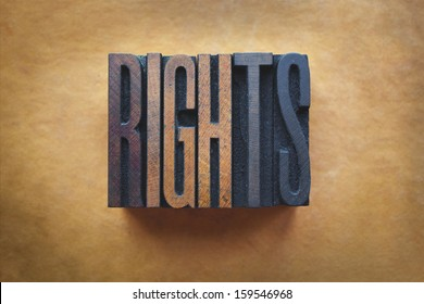 The word RIGHTS written in vintage letterpress type.