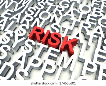 Word Risk in red, salient among other related keywords in white. 3d render illustration.