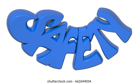 """The word """"SAFETY"""" written with blue 3D letters on white background - 3D rendering"""