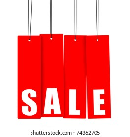 Word SALE on red hanging tags, clipping paths included.