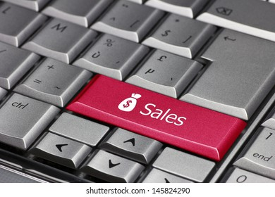 The word sales with a dollar sign on a purse  on a computer key