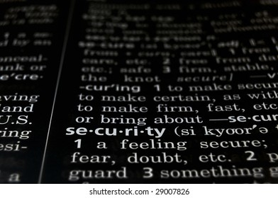 The word Security in a dictionary, white on black