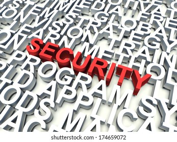 Word Security in red, salient among other related keywords in white. 3d render illustration.