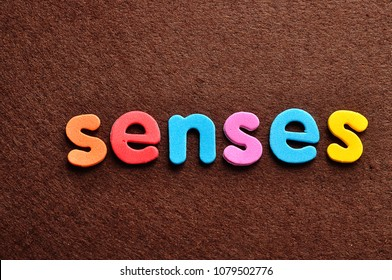 The word senses on a brown background
