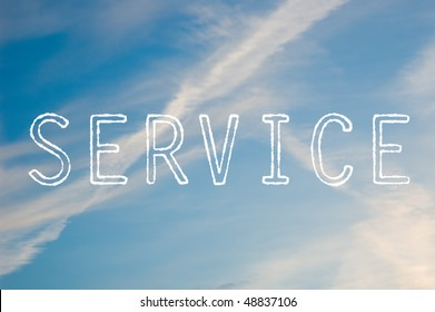 The word service written with cloud letters against a blue sky.