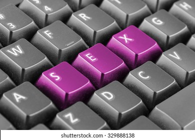 Word sex written with pink keyboard buttons