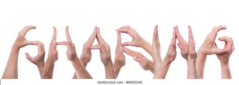 word sharing builded with lot of hands, isolated in front of white