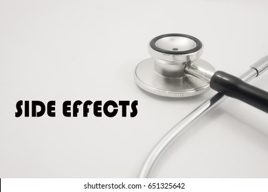 word side effects with stethoscope isolated on white background