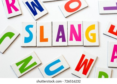 word slang made of colorful letters on white background