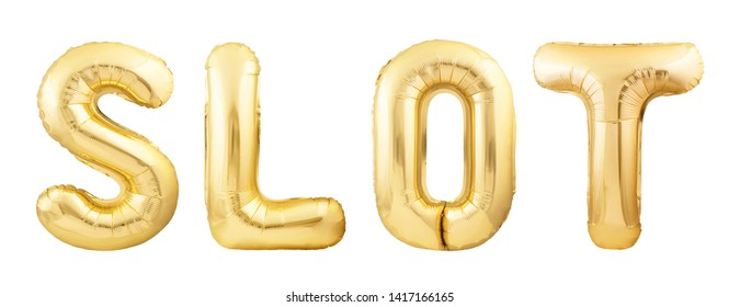Word slot made of golden inflatable balloon isolated on white background. Helium balloons forming word slot