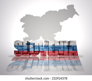 Word Slovenia with National Flag near map of Slovenia