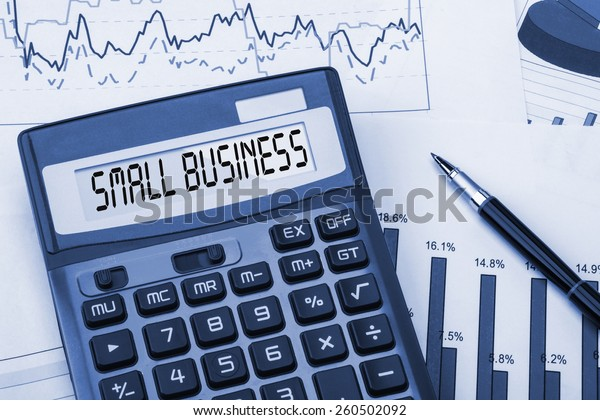 word small business displayed on calculator