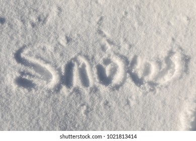 The word snow written in the snow