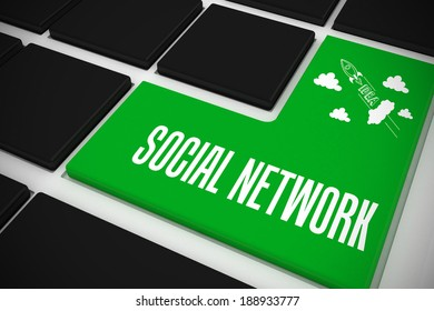 The word social network and idea and innovation graphic on black keyboard with green key