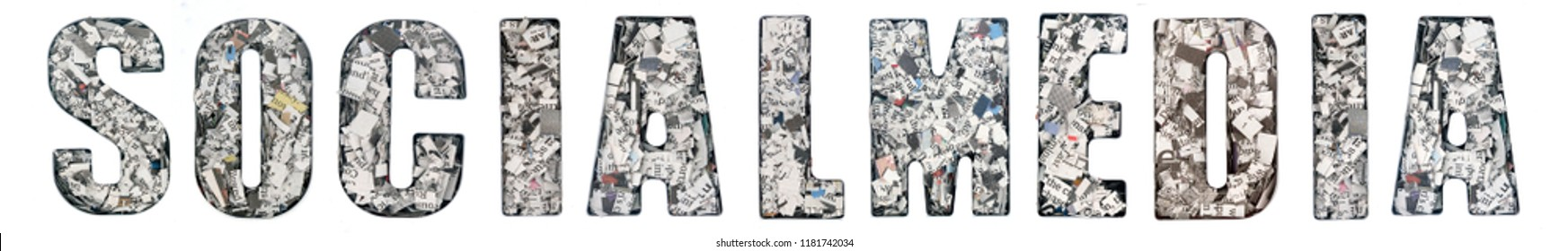 the word   SOCIALMEDIA  made up of lots of cut up newspaper  isolated