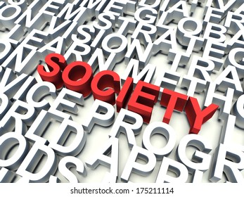 Word Society in red, salient among other related keywords concept in white. 3d render illustration.