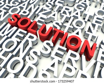 Word Solution in red, salient among other related keywords concept in white. 3d render illustration.