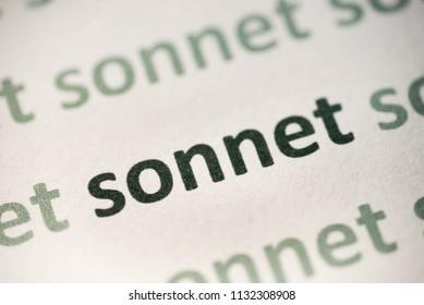 word sonnet  printed on white paper macro