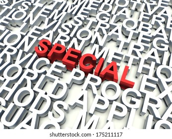 Word Special in red, salient among other keywords concept in white. 3d render illustration.