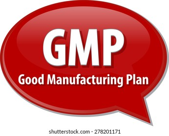 word speech bubble illustration of business acronym term GMP Good Manufacturing Plan