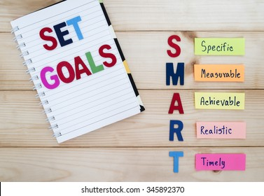 Word spell Set Goal and SMART Goals in wood background