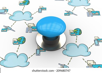 The word start and blue push button against cloud computing doodle