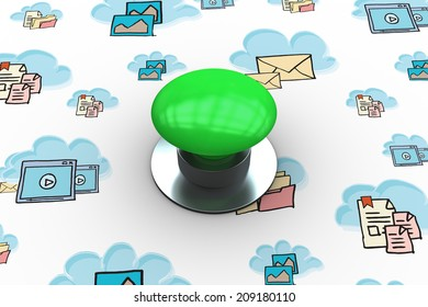 The word start and digitally generated green push button against cloud computing doodle