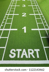 Word Start on a green floor of artificial grass in a gym for fitness, start and competition concept