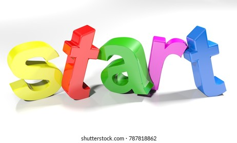 The word start, written with colorful 3D letters standing, slightly bent, on a white surface - 3D rendering illustration