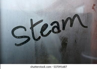 Word steam on window