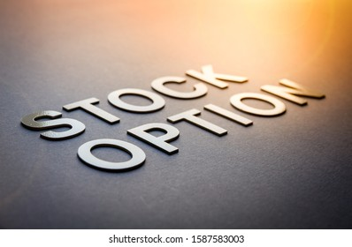 Word stock option written with white solid letters on a board