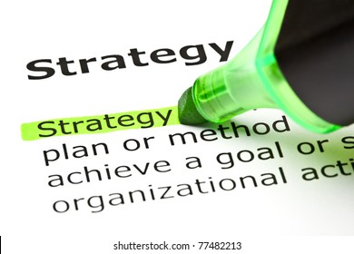 The word Strategy highlighted in green with felt tip pen.