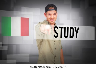 The word study and man smiling and wearing baseball hat backwards and pointing against abstract white room