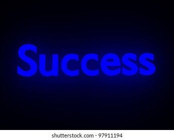 The word success in neon effect with black color background.