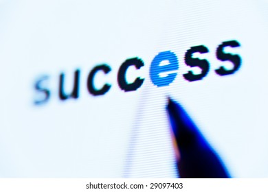 word success on computer screen
