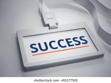 Word Success on Identification white card background.For business and financial concept ideas.