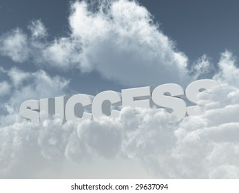 the word success in the sky with fluffy clouds - 3d illustration