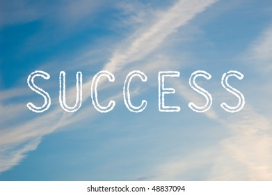 The word success written with cloud letters against a blue sky.