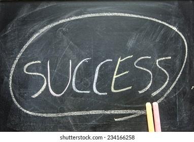"""The word """"SUCCESS"""" written on blackboard"""