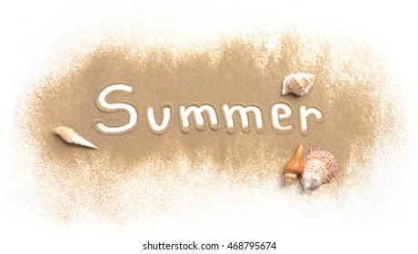 Word summer written in sand beach on white background
