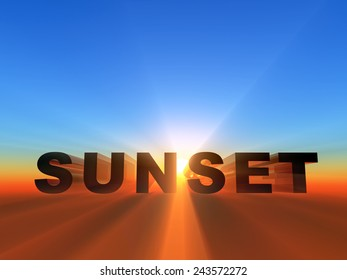 the word sunset in 3D letters on sunset background