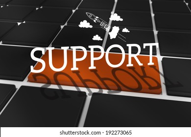 The word support and idea and innovation graphic against black keyboard with brown key